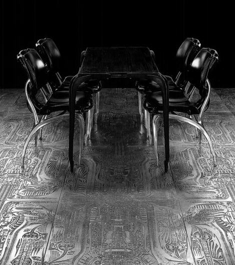 Chairs  Table and  Floorcovering Plates from the Giger Bar in. The official WebSite of H R Giger Exhibitions  Furniture from the